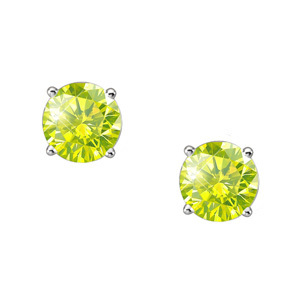 Elegant Round Cut Stud Platinum Earrings with Greenish-Yellow Diamonds