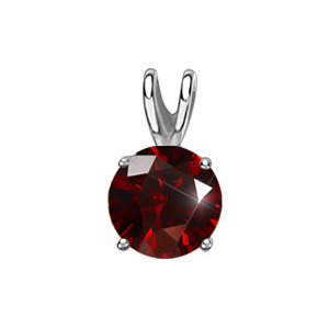 Round Cut Four-Prong Platinum Pendant with Deep Red Diamond