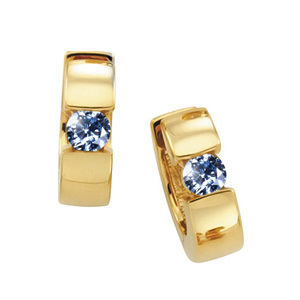 Created Diamonds Hinged Hoop 14K White Gold Stud Earrings with Blue Diamond 1/4 carat each Brilliant cut at Sears.com