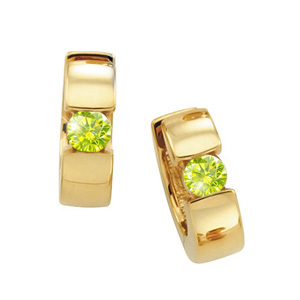 Hinged Hoop 14K Yellow Gold Stud Earrings with Greenish-Yellow Diamonds