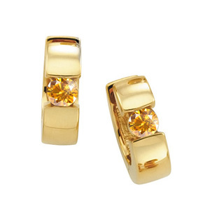 Hinged Hoop 14K Yellow Gold Stud Earrings with Orange-Yellow Diamonds