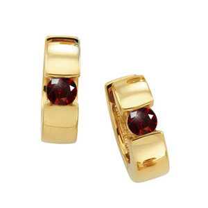 Created Diamonds Hinged Hoop 14K Yellow Gold Stud Earrings with Deep Red Diamond 1/4 carat each Brilliant cut at Sears.com