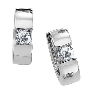 Hinged Hoop 18K White Gold Stud Earrings with White Diamonds