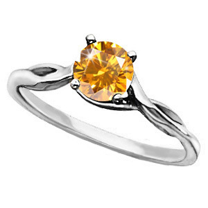Engagement Platinum Ring with Fancy Orange-Yellow Diamond