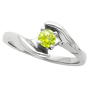 Elegant Engagement 14K Yellow Gold Ring with Fancy Greenish-Yellow Diamond