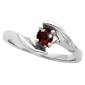Elegant Engagement 14K White Gold Ring with Fancy Deep Red Diamond