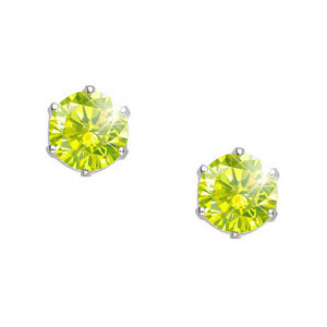 Created Diamonds Ultra Safe Six Prong 14K White Gold Stud Earrings with Greenish-Yellow Diamond 0.1+ carat each Brilliant cut at Sears.com