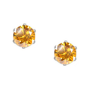 Ultra Safe Six Prong 14K White Gold Stud Earrings with Orange-Yellow Diamonds