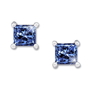 Princess Cut Platinum Stud Earrings with Blue Diamonds