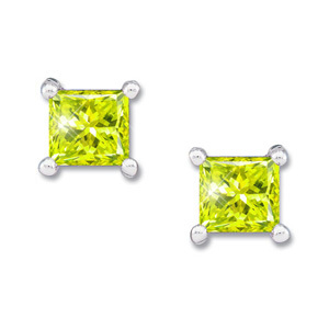 Princess Cut 14K White Gold Stud Earrings with Greenish-Yellow Diamonds