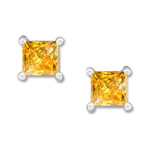 Created Diamonds Princess Cut Platinum Stud Earrings with Orange-Yellow Diamond 0.1+ carat each Princess cut at Sears.com