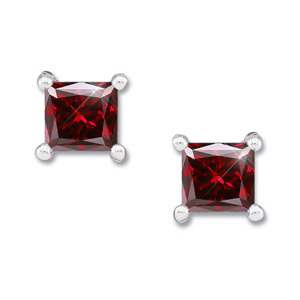 Created Diamonds Princess Cut 18K White Gold Stud Earrings with Deep Red Diamond 0.1+ carat each Princess cut at Sears.com