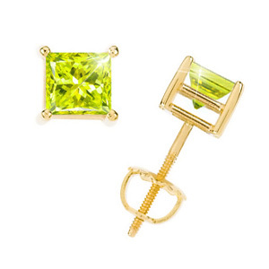 Princess Cut 18K Yellow Gold Stud Earrings with Greenish-Yellow Diamonds