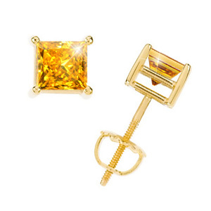 Princess Cut 14K Yellow Gold Stud Earrings with Orange-Yellow Diamonds