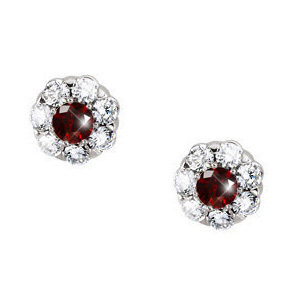 Flower Cluster Platinum Studs with Fancy Deep Red Diamonds