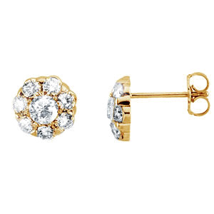 Flower Cluster 14K Yellow Gold Studs with White Diamonds
