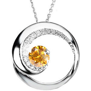Magic Moon 14K White Gold Pendant with Fancy Orange-Yellow Diamond