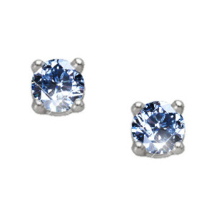 Brilliant Cut Platinum Stud Earrings with Blue Diamonds
