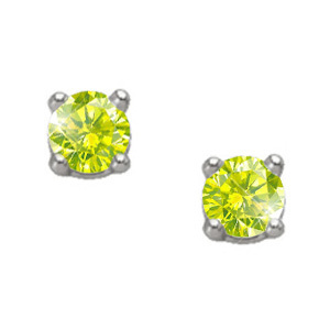 Brilliant Cut 14K White Gold Stud Earrings with Greenish-Yellow Diamonds