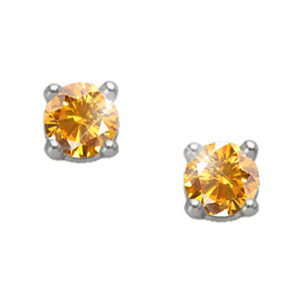 Created Diamonds Brilliant Cut 14K Yellow Gold Stud Earrings with Orange-Yellow Diamond 0.1+ carat each Brilliant cut at Sears.com