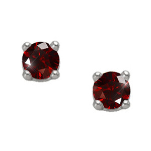 Brilliant Cut 14K White Gold Stud Earrings with Deep Red Diamonds