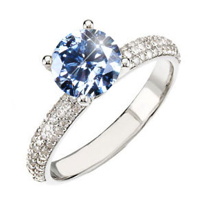 Classic Micropave Platinum Engagement Ring with Fancy Blue Diamond