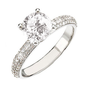 Classic Micropave Platinum Engagement Ring with White Diamond