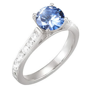 Channel Set Cathedral 14K White Gold Engagement Ring with Fancy Blue Diamond
