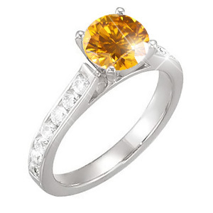 Channel Set Cathedral 14K Yellow Gold Engagement Ring with Fancy Orange-Yellow Diamond