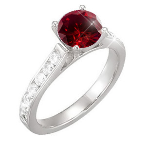 Channel Set Cathedral 14K White Gold Engagement Ring with Fancy Deep Red Diamond