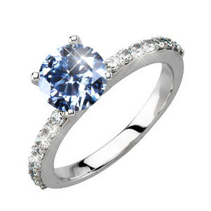 Classic 4-Prong Pave Platinum Engagement Ring with Fancy Blue Diamond
