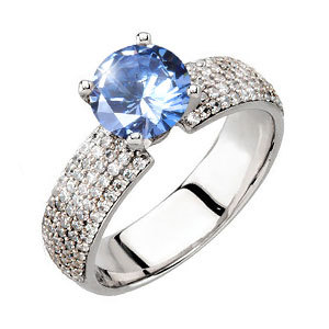 Gala 4-Prong Micropave Platinum Engagement Ring with Fancy Blue Diamond