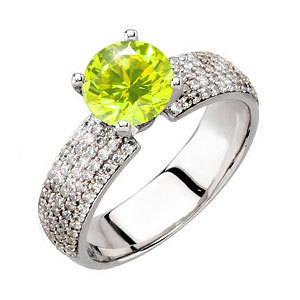 Gala 4-Prong Micropave 14K White Gold Engagement Ring with Fancy Greenish-Yellow Diamond