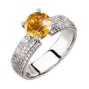 Gala 4-Prong Micropave 14K Yellow Gold Engagement Ring with Fancy Orange-Yellow Diamond
