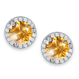 Halo Martini Style Stud 18K White Gold Earrings with Fancy Orange-Yellow Diamonds