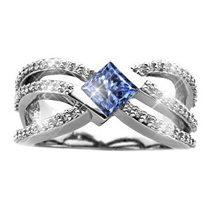 Crown Princess Cut 14K White Gold Ring with Fancy Blue Diamond