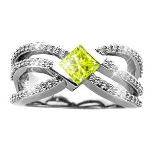 Crown Princess Cut 18K White Gold Ring with Fancy Greenish-Yellow Diamond