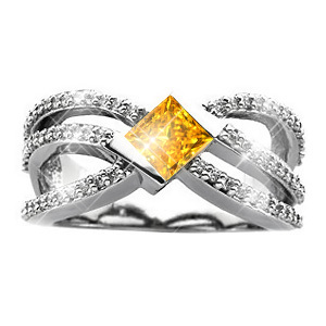 Crown Princess Cut 14K White Gold Ring with Fancy Orange-Yellow Diamond