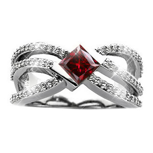 Crown Princess Cut 18K White Gold Ring with Fancy Deep Red Diamond