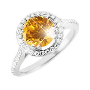 Round Halo 14K White Gold Engagement Ring with Fancy Orange-Yellow Diamond