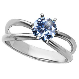 Infinity Solitaire Engagement Platinum Ring with Fancy Blue Diamond