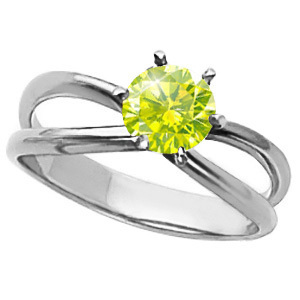 Infinity Solitaire Engagement 14K White Gold Ring with Fancy Greenish-Yellow Diamond