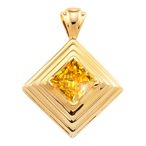 North Aurora Bezel Set Princess Cut Platinum Pendant with Orange-Yellow Diamond