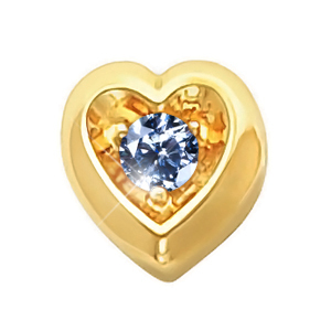 Heart Shape 18K Yellow Gold Pendant with Blue Diamond