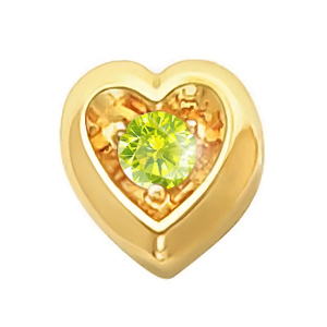 Heart Shape 14K Yellow Gold Pendant with Greenish-Yellow Diamond