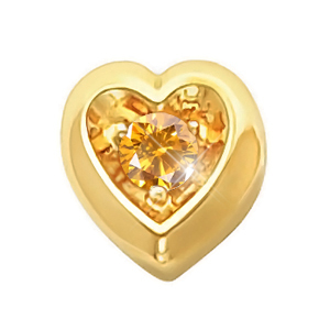 Heart Shape 14K Yellow Gold Pendant with Orange-Yellow Diamond
