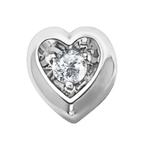 Heart Shape 18K White Gold Pendant with White Diamond