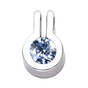 Stylish Bezel Set Round Cut Solitaire 18K White Gold Pendant with Blue Diamond