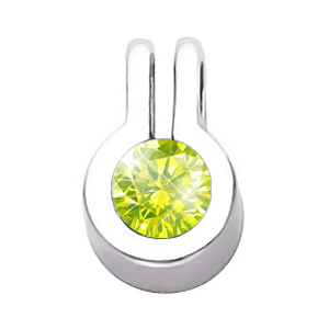 Stylish Bezel Set Round Cut Solitaire 18K Yellow Gold Pendant with Greenish-Yellow Diamond