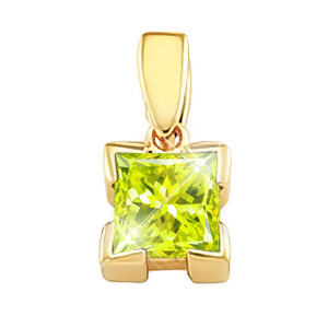 Vanity Princess Cut 18K Yellow Gold Pendant with Greenish-Yellow Diamond